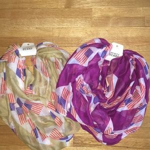 Accessories - NWT Set of 2 Infinity Scarves Flag Design